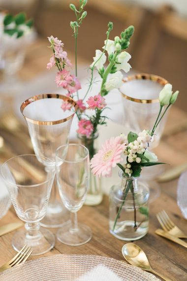 Gold Rimmed Glassware For Wedding // Needle & Thread Bridesmaids Dresses For A Pink And Mint At Home Marquee With Fine Art Photography From Amy Fanton Photography