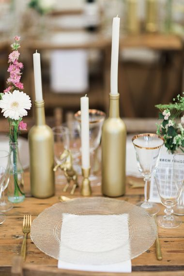Gold Bottle Candle Holders // Needle & Thread Bridesmaids Dresses For A Pink And Mint At Home Marquee With Fine Art Photography From Amy Fanton Photography