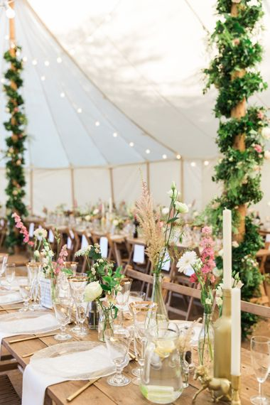 Marquee Wedding With Wooden Trestle Tables And Pink And Gold Details // Needle & Thread Bridesmaids Dresses For A Pink And Mint At Home Marquee With Fine Art Photography From Amy Fanton Photography