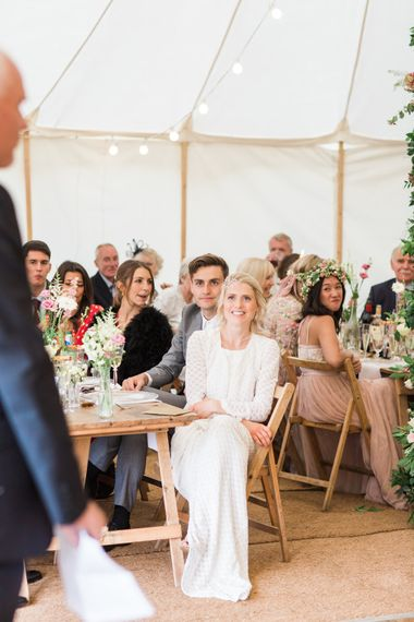 Wedding Speeches // Needle & Thread Bridesmaids Dresses For A Pink And Mint At Home Marquee With Fine Art Photography From Amy Fanton Photography