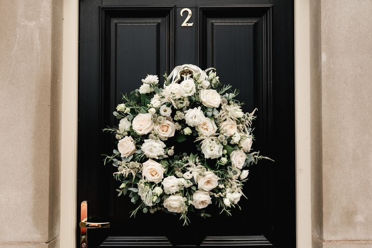 White & Green Floral Door Wreath | Elegant Grey, Green, White & Gold Black Tie, Marquee Wedding at Tullyveery House N. Ireland with Decor & Styling by Mood Events | The Lou's Photography | Soul & Rise Film