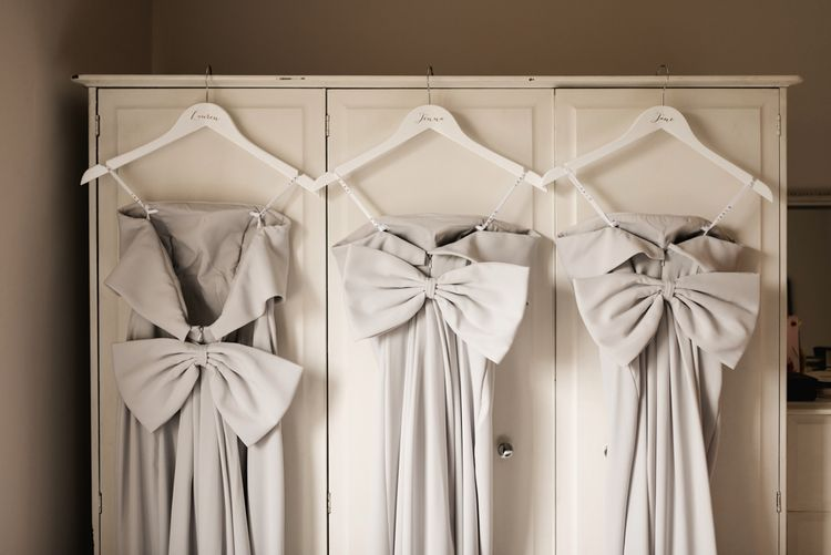 Grey Jarlo Bridesmaid Dresses with Bows | Elegant Grey, Green, White & Gold Black Tie, Marquee Wedding at Tullyveery House N. Ireland with Decor & Styling by Mood Events | The Lou's Photography | Soul & Rise Film