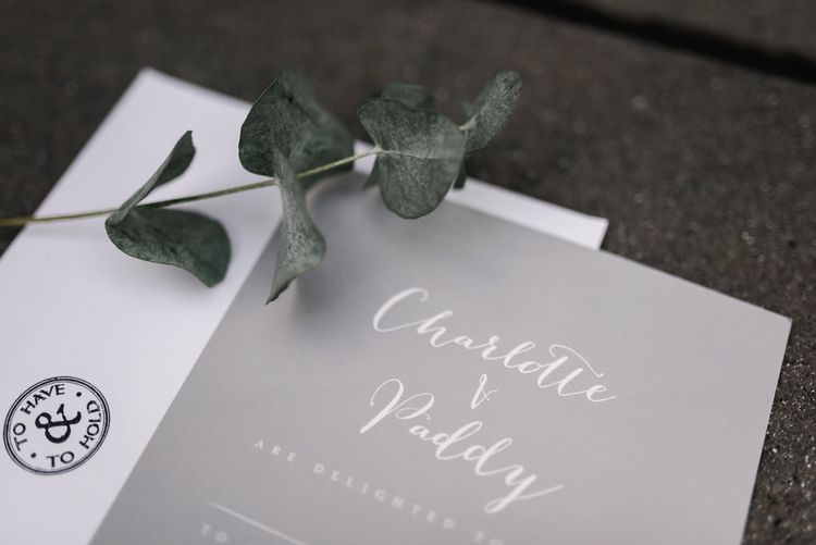 Elegant Grey & White Wedding Stationery | White & Green Floral Door Wreath | Elegant Grey, Green, White & Gold Black Tie, Marquee Wedding at Tullyveery House N. Ireland with Decor & Styling by Mood Events | The Lou's Photography | Soul & Rise Film