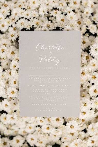 Wedding Stationery | White & Green Floral Door Wreath | Elegant Grey, Green, White & Gold Black Tie, Marquee Wedding at Tullyveery House N. Ireland with Decor & Styling by Mood Events | The Lou's Photography | Soul & Rise Film