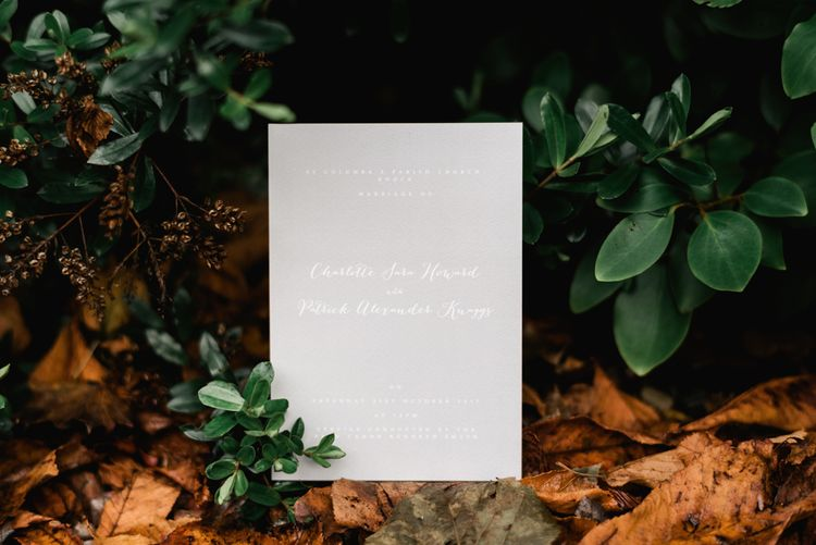 Elegant Grey Wedding Stationery | White & Green Floral Door Wreath | Elegant Grey, Green, White & Gold Black Tie, Marquee Wedding at Tullyveery House N. Ireland with Decor & Styling by Mood Events | The Lou's Photography | Soul & Rise Film