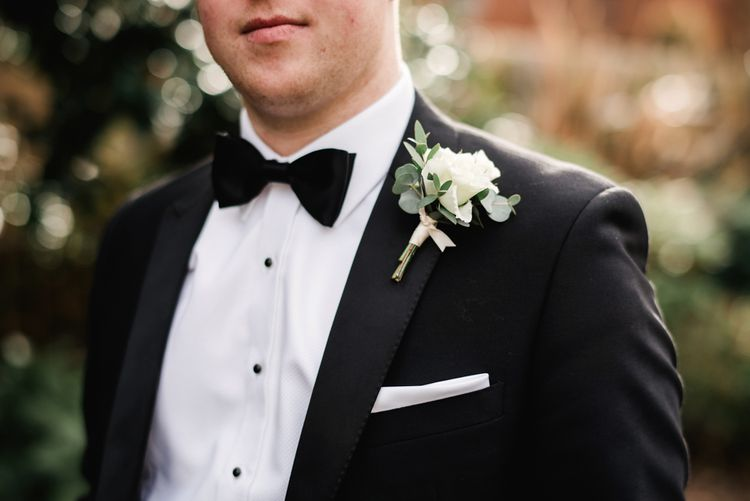 White Rose Buttonhole | Groom in Black Tie | Elegant Grey, Green, White & Gold Black Tie, Marquee Wedding at Tullyveery House N. Ireland with Decor & Styling by Mood Events | The Lou's Photography | Soul & Rise Film
