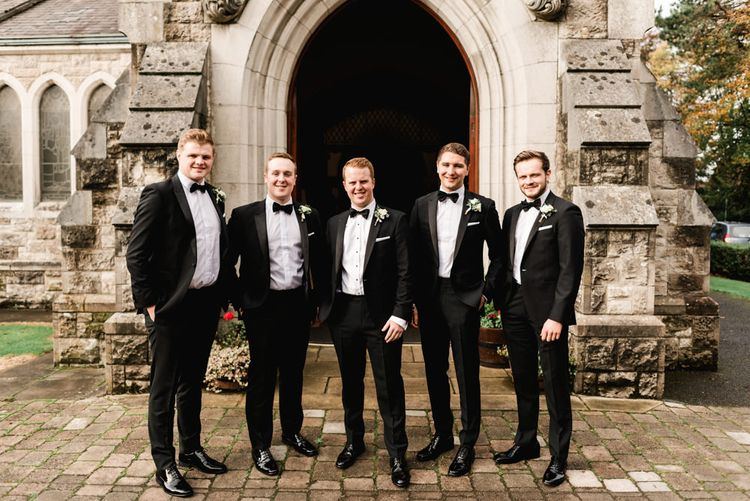 Groomsmen in Black Tie | Elegant Grey, Green, White & Gold Black Tie, Marquee Wedding at Tullyveery House N. Ireland with Decor & Styling by Mood Events | The Lou's Photography | Soul & Rise Film