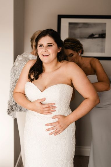 Wedding Morning Bridal Preparations | Bride in Badgley Mischka  Lace Bridal Gown | Elegant Grey, Green, White & Gold Black Tie, Marquee Wedding at Tullyveery House N. Ireland with Decor & Styling by Mood Events | The Lou's Photography | Soul & Rise Film