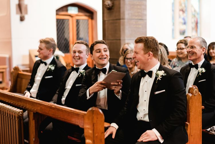 Church Wedding Ceremony |  Groomsmen at the Altar in Black Tie | Elegant Grey, Green, White & Gold Black Tie, Marquee Wedding at Tullyveery House N. Ireland with Decor & Styling by Mood Events | The Lou's Photography | Soul & Rise Film