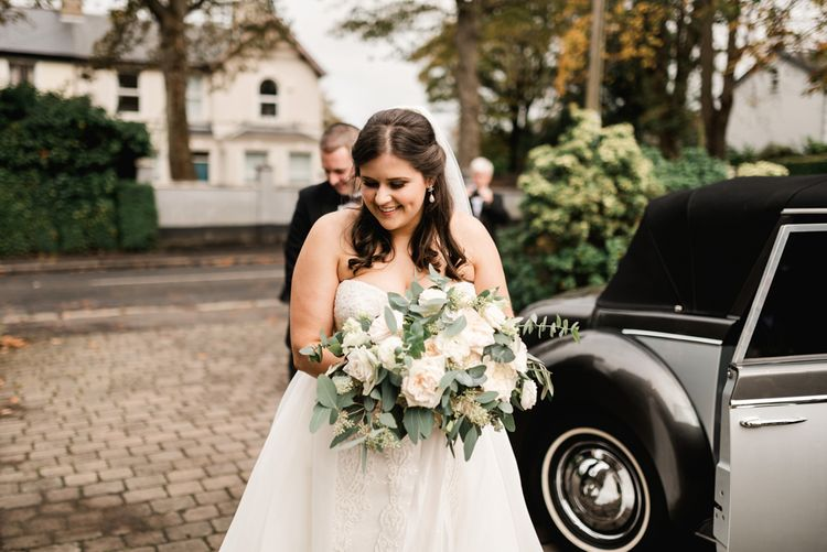 Bridal Entrance in Badgley Mischka  Lace Bridal Gown | Elegant Grey, Green, White & Gold Black Tie, Marquee Wedding at Tullyveery House N. Ireland with Decor & Styling by Mood Events | The Lou's Photography | Soul & Rise Film