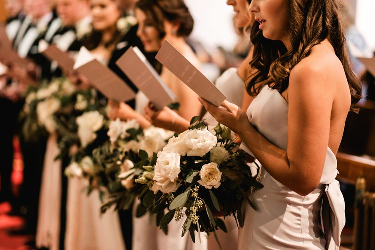 Church Wedding Ceremony | Elegant Bridal Party | Bridesmaids in Grey Jarlo Dresses | Grey, Green, White & Gold Black Tie, Marquee Wedding at Tullyveery House N. Ireland with Decor & Styling by Mood Events | The Lou's Photography | Soul & Rise Film