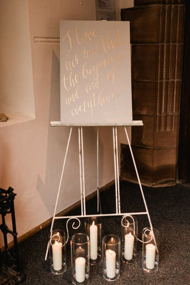 Grey & Gold Calligraphy Wedding Sign | Grey, Green, White & Gold Black Tie, Marquee Wedding at Tullyveery House N. Ireland with Decor & Styling by Mood Events | The Lou's Photography | Soul & Rise Film