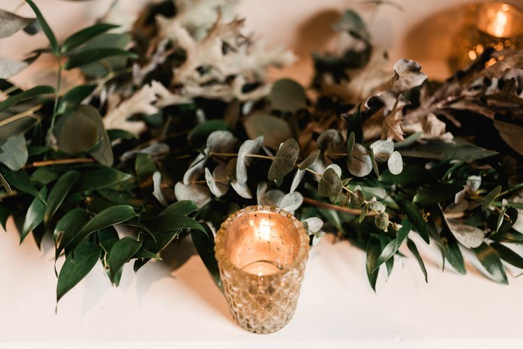Silver Votive & Greenery Garland | Grey, Green, White & Gold Black Tie, Marquee Wedding at Tullyveery House N. Ireland with Decor & Styling by Mood Events | The Lou's Photography | Soul & Rise Film