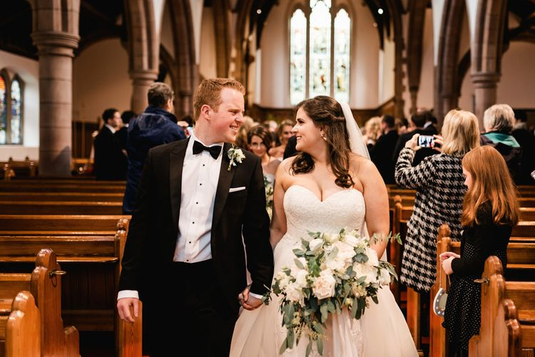 Wedding Ceremony | Bride in Badgley Mischka  Lace Bridal Gown | Groom in Black Tie | Elegant Grey, Green, White & Gold Black Tie, Marquee Wedding at Tullyveery House N. Ireland with Decor & Styling by Mood Events | The Lou's Photography | Soul & Rise Film
