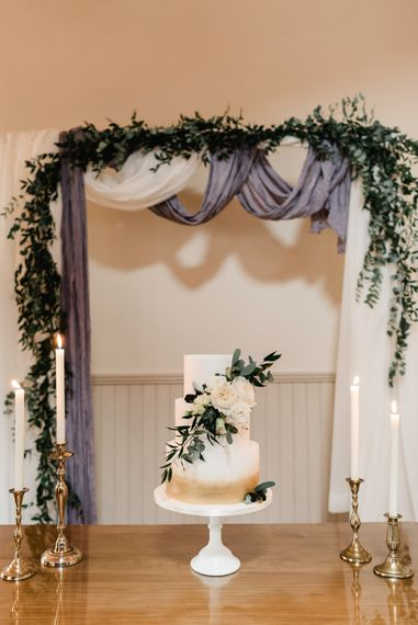 Elegant Wedding Cake by Cake Couture | Grey, Green, White & Gold Black Tie, Marquee Wedding at Tullyveery House N. Ireland with Decor & Styling by Mood Events | The Lou's Photography | Soul & Rise Film