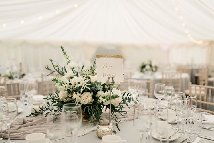 Floral Centrepiece by Floralearth | Elegant Grey, Green, White & Gold Black Tie, Marquee Wedding at Tullyveery House N. Ireland with Decor & Styling by Mood Events | The Lou's Photography | Soul & Rise Film