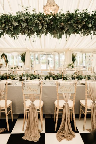 Greenery Installation & Chair Back Decor | Elegant Grey, Green, White & Gold Black Tie, Marquee Wedding at Tullyveery House N. Ireland with Decor & Styling by Mood Events | The Lou's Photography | Soul & Rise Film