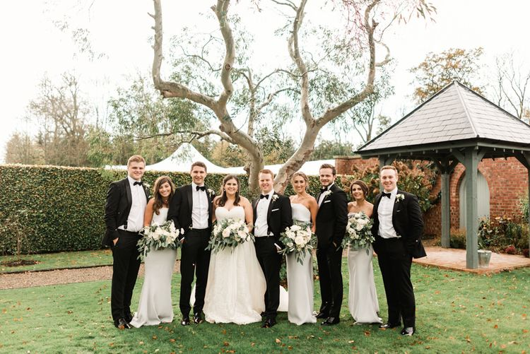 Elegant Wedding Party | Bridesmaids in Grey Jarlo Dresses | Bride in Badgley Mischka  Lace Bridal Gown | Groomsmen in Black Tie | Grey, Green, White & Gold Black Tie, Marquee Wedding at Tullyveery House N. Ireland with Decor & Styling by Mood Events | The Lou's Photography | Soul & Rise Film