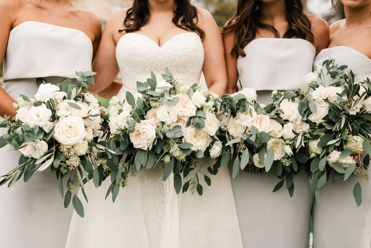 White & Green Bridal Party Bouquets | Elegant Grey, Green, White & Gold Black Tie, Marquee Wedding at Tullyveery House N. Ireland with Decor & Styling by Mood Events | The Lou's Photography | Soul & Rise Film