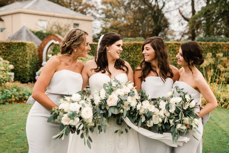 Elegant Bridal Party | Bridesmaids in Grey Jarlo Dresses | Bride in Badgley Mischka  Lace Bridal Gown | Grey, Green, White & Gold Black Tie, Marquee Wedding at Tullyveery House N. Ireland with Decor & Styling by Mood Events | The Lou's Photography | Soul & Rise Film
