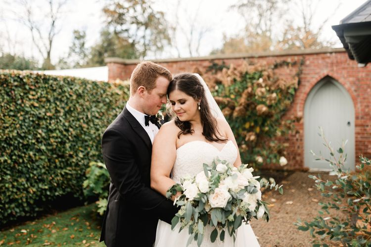 Bride in Badgley Mischka  Lace Bridal Gown | Groom in Black Tie | Elegant Grey, Green, White & Gold Black Tie, Marquee Wedding at Tullyveery House N. Ireland with Decor & Styling by Mood Events | The Lou's Photography | Soul & Rise Film