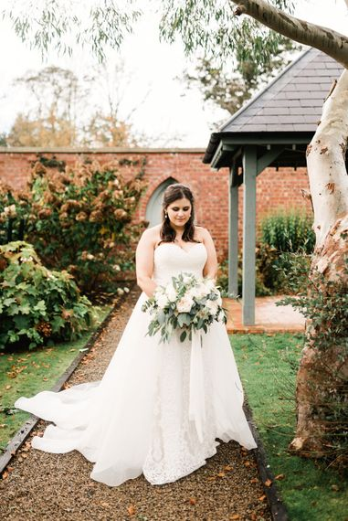Bride in Badgley Mischka  Lace Bridal Gown | Elegant Grey, Green, White & Gold Black Tie, Marquee Wedding at Tullyveery House N. Ireland with Decor & Styling by Mood Events | The Lou's Photography | Soul & Rise Film