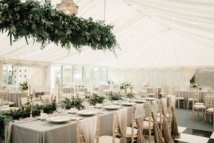 Greenery Hanging installation | Elegant Grey, Green Marquee Wedding at Tullyveery House N. Ireland with Decor & Styling by Mood Events | The Lou's Photography | Soul & Rise Film
