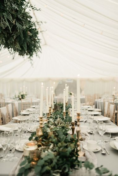 Gold Candle Sticks & Taper Candles Wedding Decor | Elegant Grey, Green, White & Gold Black Tie, Marquee Wedding at Tullyveery House N. Ireland with Decor & Styling by Mood Events | The Lou's Photography | Soul & Rise Film