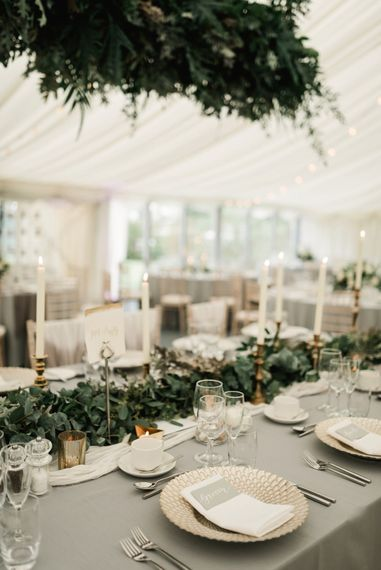 Elegant Place Setting | Greenery Table Runner | Wedding Decor | Elegant Grey, Green, White & Gold Black Tie, Marquee Wedding at Tullyveery House N. Ireland with Decor & Styling by Mood Events | The Lou's Photography | Soul & Rise Film
