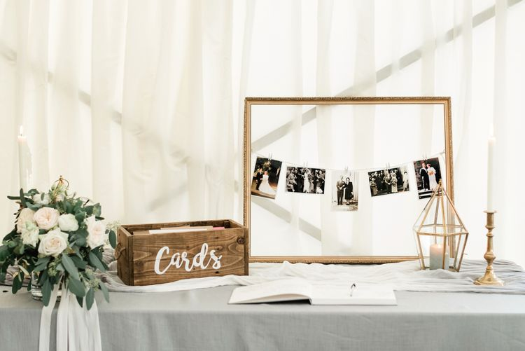 Card Box & Polaroid Station Wedding Decor | Elegant Grey, Green Marquee Wedding at Tullyveery House N. Ireland with Decor & Styling by Mood Events | The Lou's Photography | Soul & Rise Film