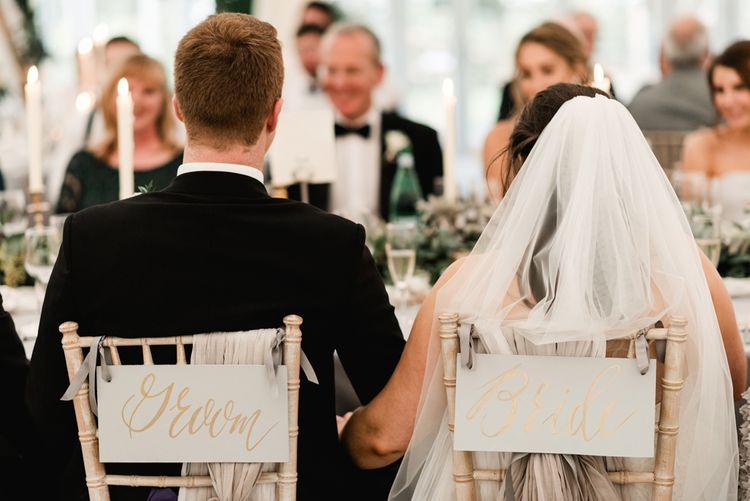 Chair Back Decor | Elegant Grey, Green Marquee Wedding at Tullyveery House N. Ireland with Decor & Styling by Mood Events | The Lou's Photography | Soul & Rise Film
