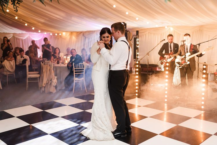 First Dance | Bride in Badgley Mischka  Lace Bridal Gown | Groom in Black Tie | Elegant Grey, Green, White & Gold Black Tie, Marquee Wedding at Tullyveery House N. Ireland with Decor & Styling by Mood Events | The Lou's Photography | Soul & Rise Film
