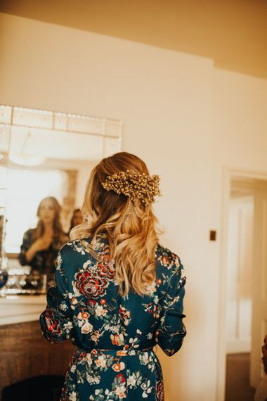 Dried flower hairpiece for bride at wedding with yellow bridesmaid dresses