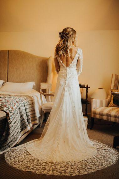 Low V back bride dress
