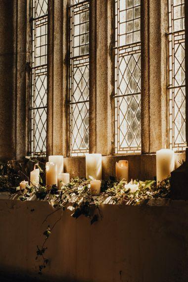 Church wedding decor with candles