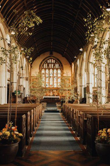Tree wedding decor for church ceremony