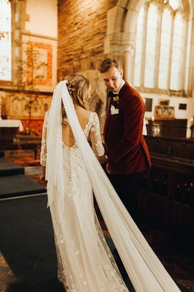 Bridal veil for church wedding with yellow bridesmaid dresses