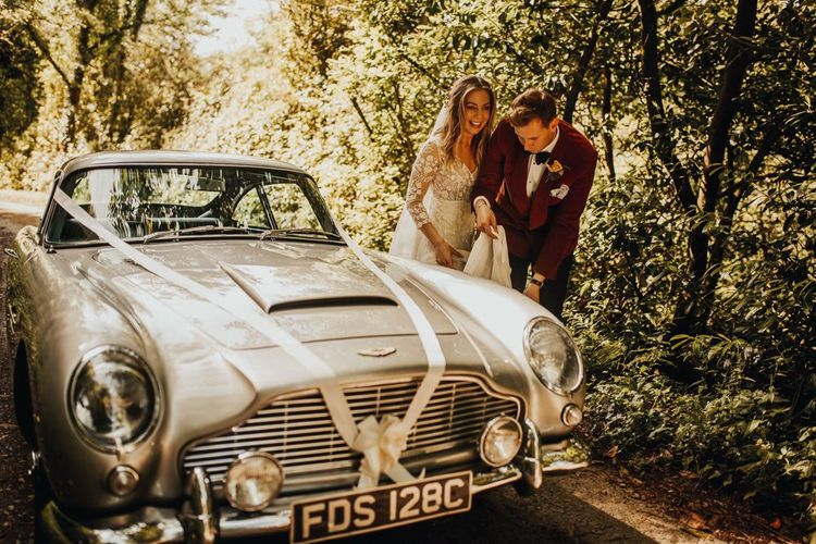 Vintage wedding car for Devon wedding