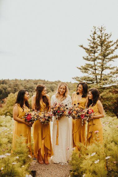 Yellow bridesmaid dresses at Devonshire wedding
