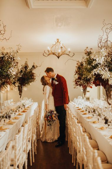 Wedding table decor with Bride and Groom