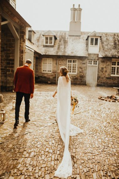 Bridal cape for Devon wedding