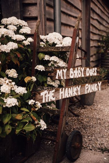 Quotes on wedding signs at Nancarrow Farm
