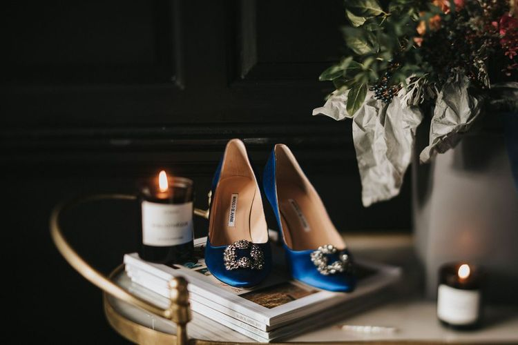 Blue wedding shoes for Healing Manor wedding in Grimsby