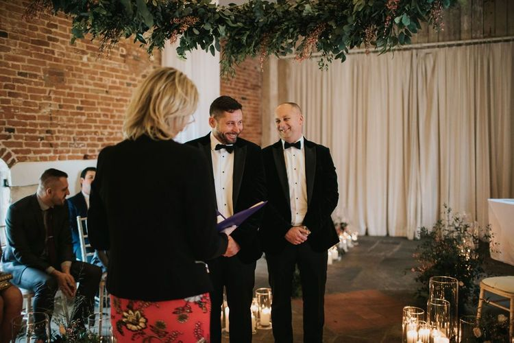 Groom waiting for bride at Healing Manor wedding