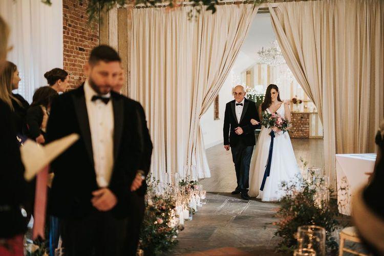 Bride enters the ceremony at Healing Manor wedding