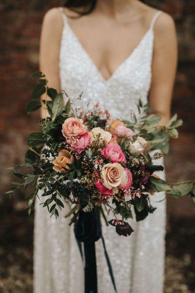 Pink wedding bouquet for bride