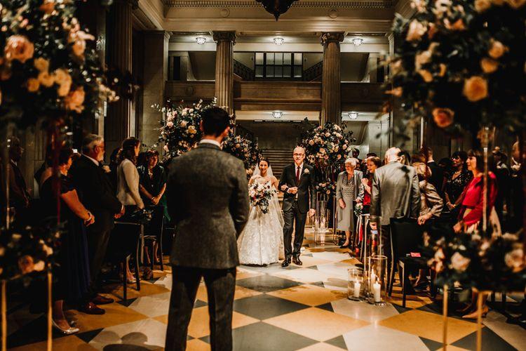 Wedding Ceremony Bridal Entrance with Bride Walking Down the Aisle in Fleur de lis Hayley Paige Wedding Dress