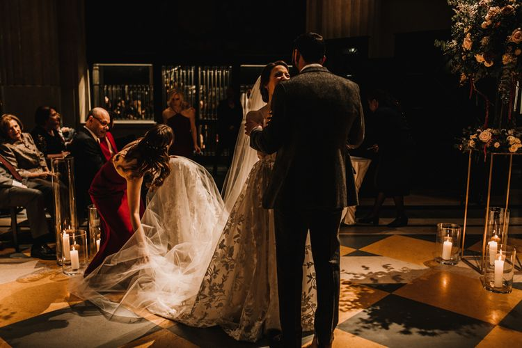 Jewish Blessing at Banking Hall in London with Bride in Hayley Paige Wedding Dress