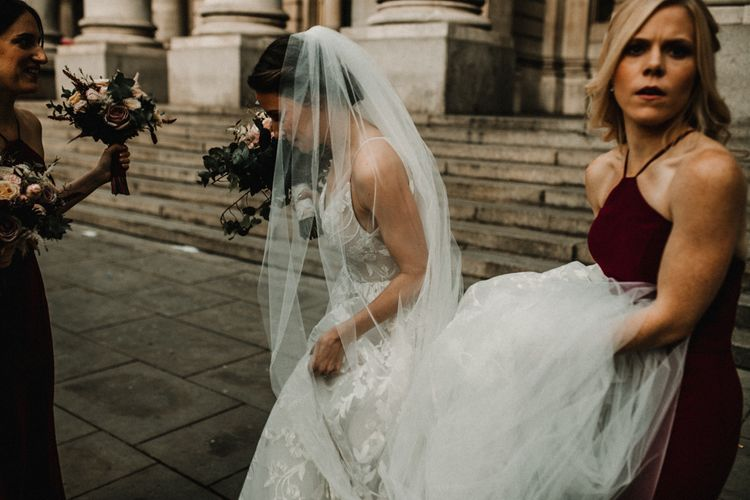 Beautiful Bride in Hayley Paige Wedding Dress and Veil
