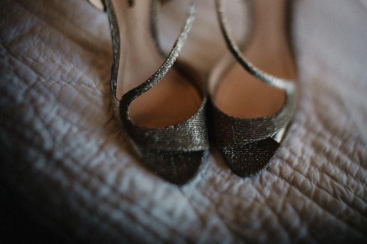 Silver Peep Toe Bridal Shoes